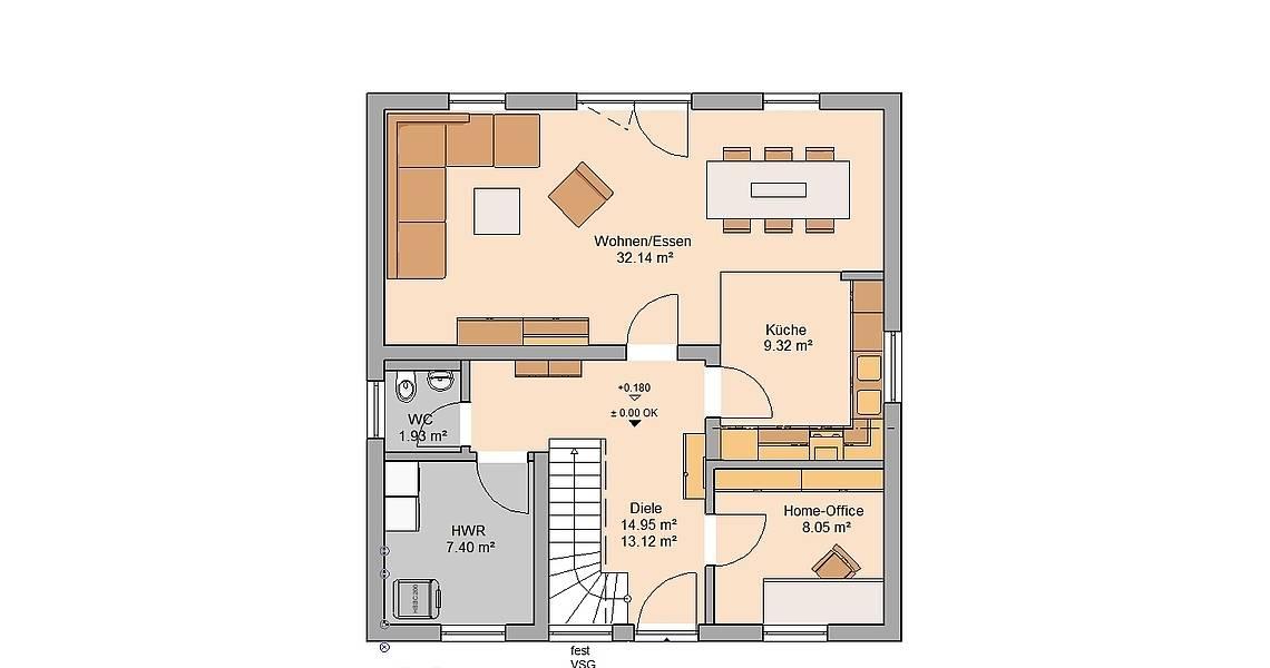 Kern-Haus Familienhaus Luna Grundriss Erdgeschoss