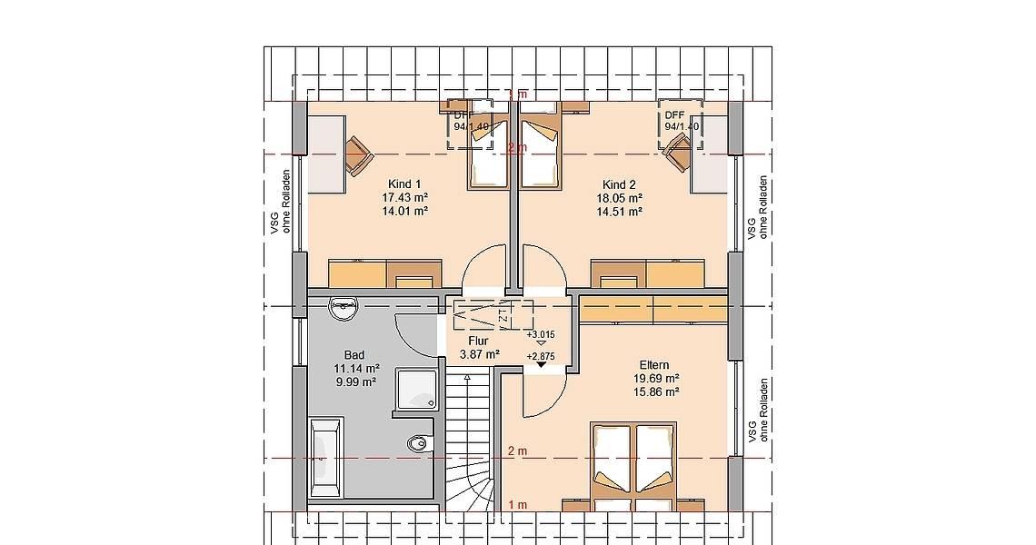 Kern-Haus Familienhaus Luna Plus Grundriss Dachgeschoss