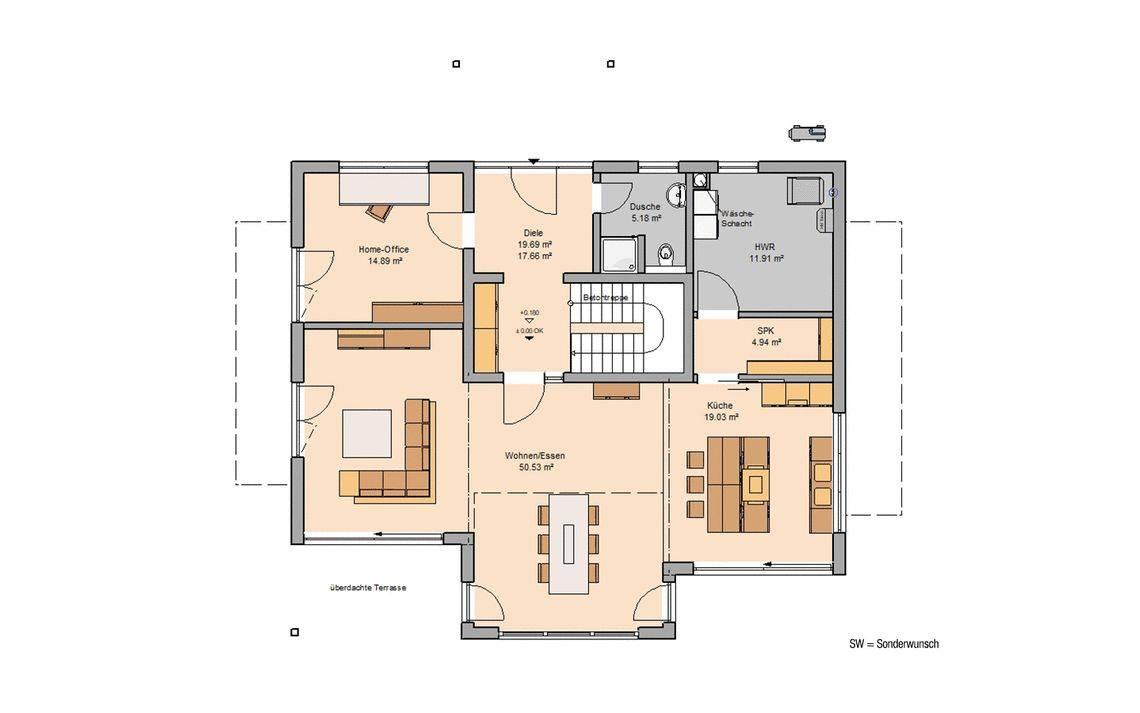 Kern-Haus Familienhaus Maxime Grundriss Erdgeschoss