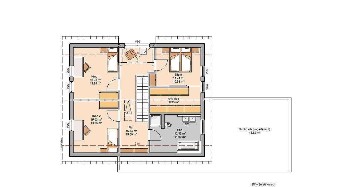 Massivhaus Kern-Haus Familienhaus Melia Grundriss Dachgeschoss