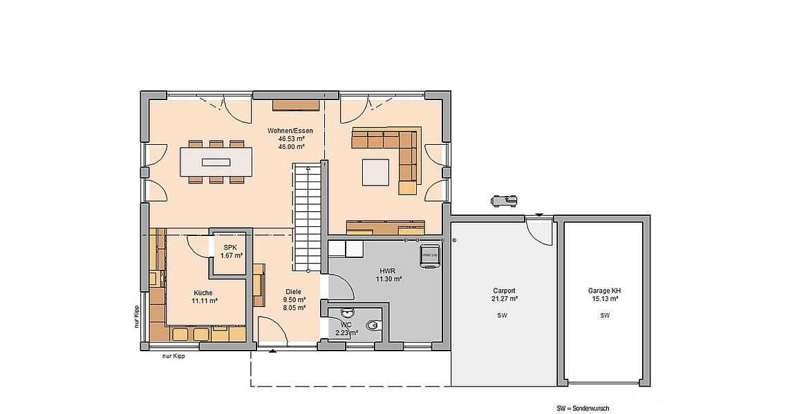 Massivhaus Kern-Haus Familienhaus Melia Grundriss Erdgeschoss