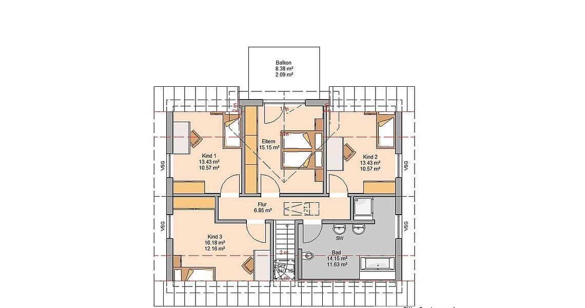 Grundriss Kern-Haus Familienhaus Signum Plus Dachgeschoss