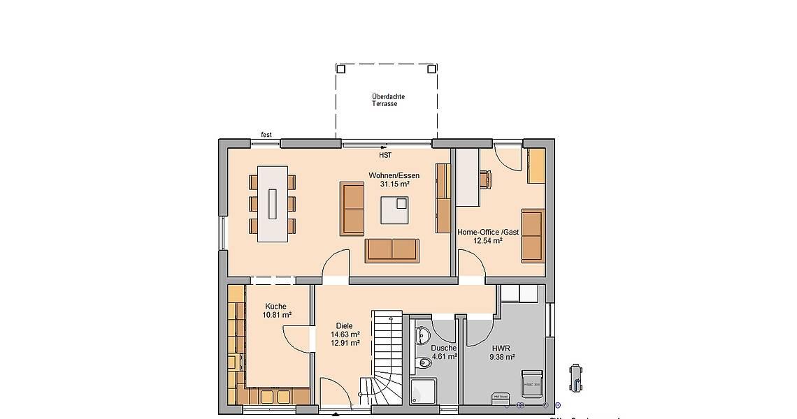 Grundriss Kern-Haus Familienhaus Signum Plus Erdgeschoss