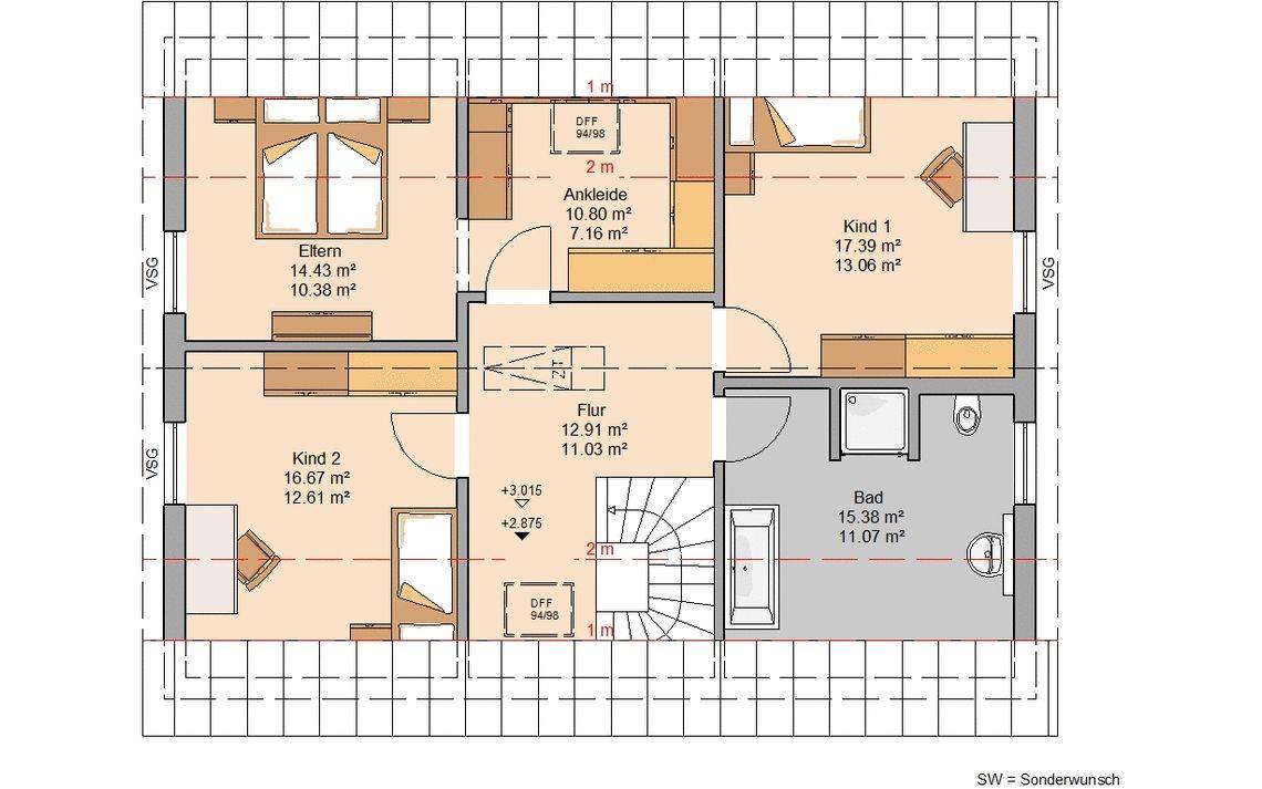 Massivhaus Kern-Haus Familienhaus Taro Grundriss Dachgeschoss