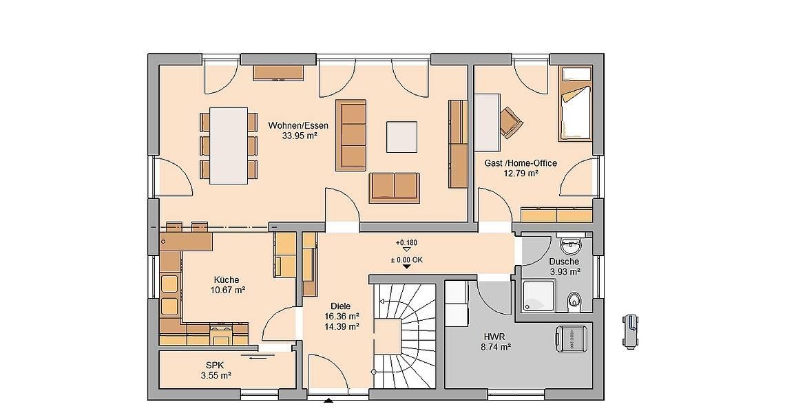 Massivhaus Kern-Haus Familienhaus Taro Grundriss Erdgeschoss