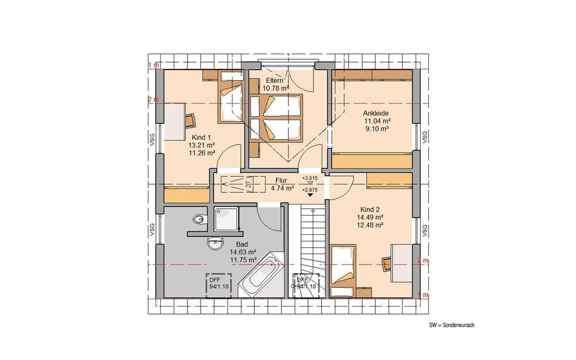 Massivhaus Kern-Haus Familienhaus Trend Grundriss Dachgeschoss