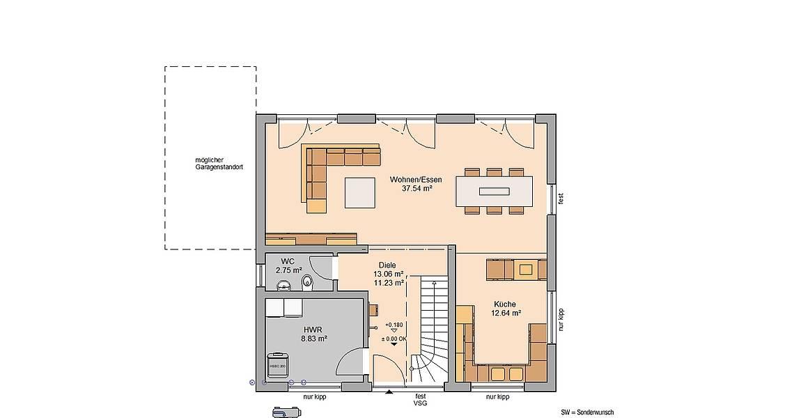 Massivhaus Kern-Haus Familienhaus Trend Grundriss Erdgeschoss
