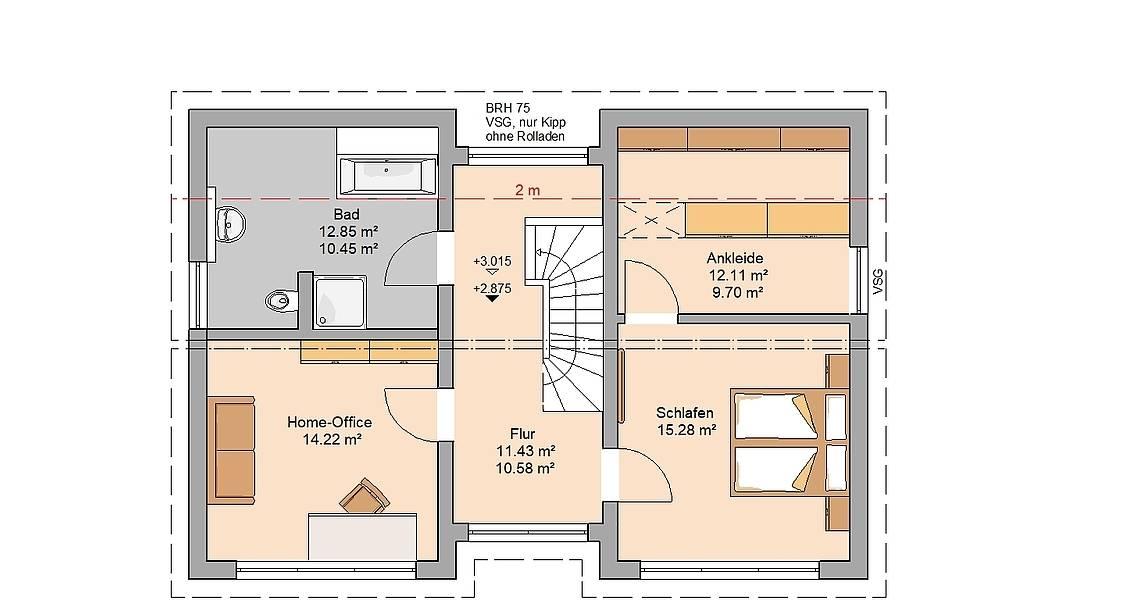 Kern-Haus Familienhaus Vio Grundriss Dachgeschoss Variante mit Home-Office
