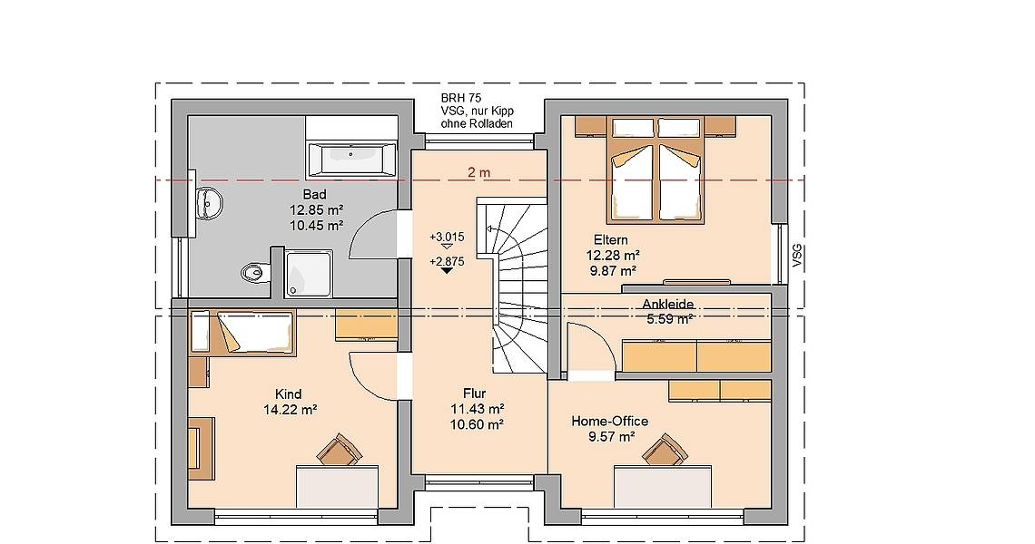 Kern-Haus Familienhaus Vio Grundriss Dachgeschoss Variante mit Kinderzimmer