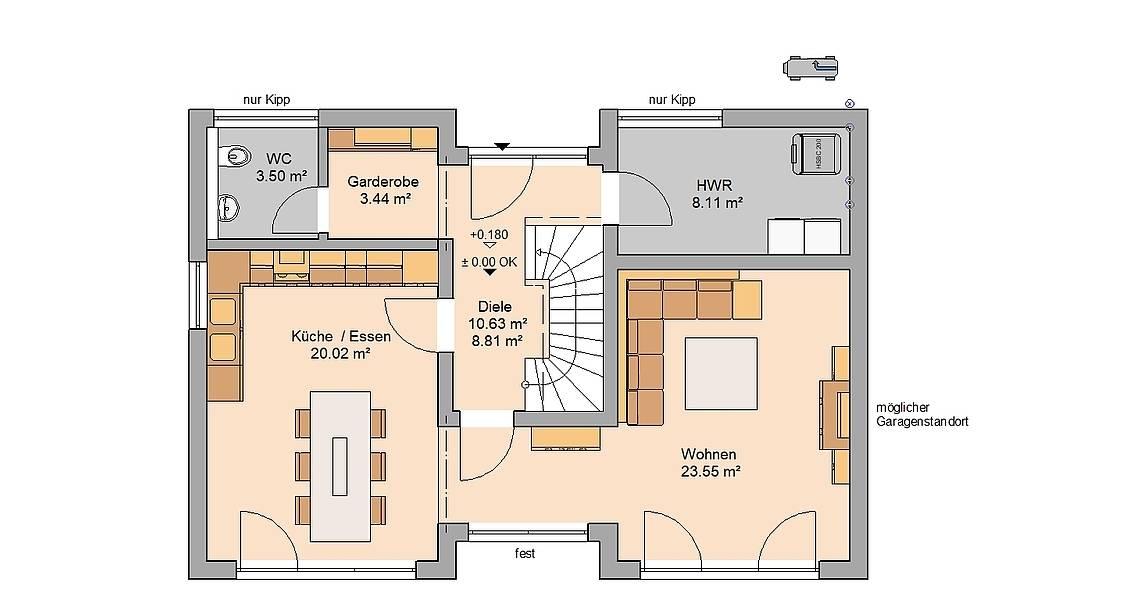 Kern-Haus Familienhaus Vio Grundriss Erdgeschoss