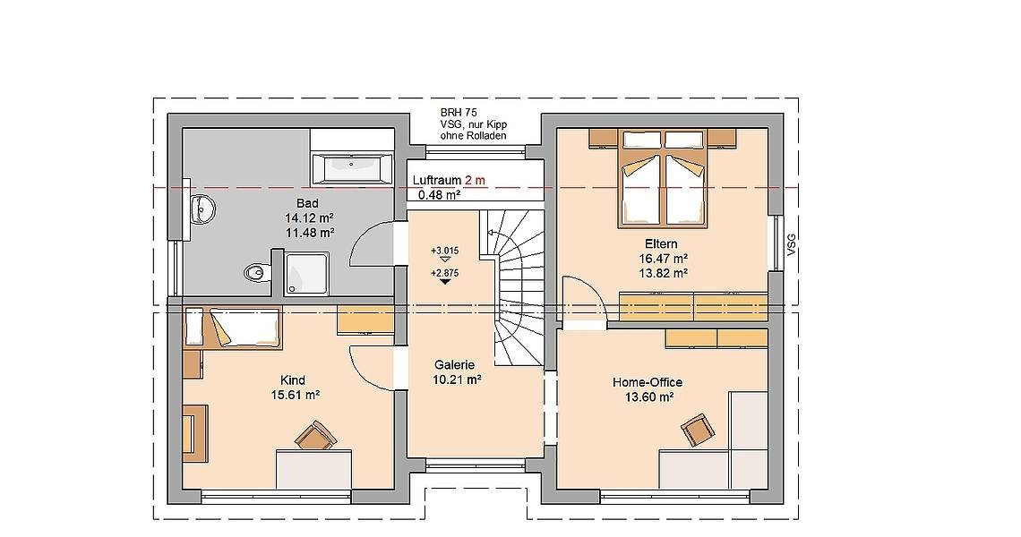 Massivhaus Kern-Haus Familienhaus Vio Plus Grundriss Dachgeschoss Variante mit Kinderzimmer