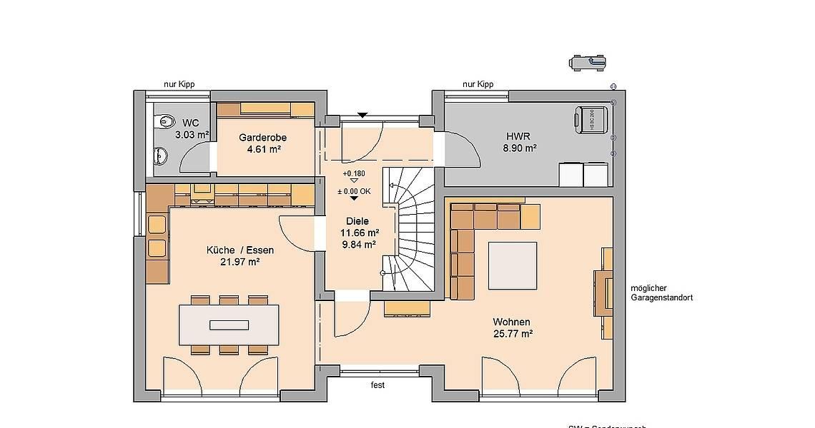 Kern-Haus Familienhaus Vio Plus Grundriss Erdgeschoss