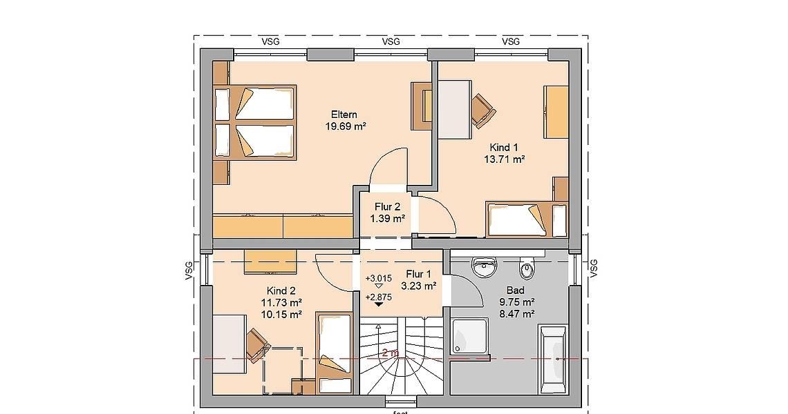 Kern-Haus Familienhaus Vision Grundriss Dachgeschoss