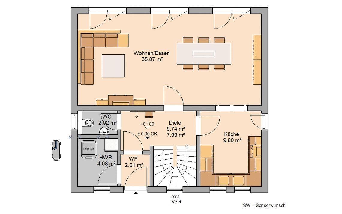 Kern-Haus Familienhaus Vision Grundriss Erdgeschoss