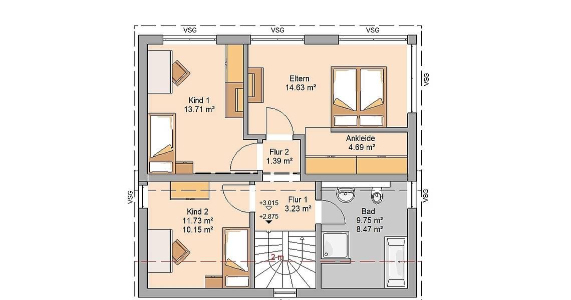Kern-Haus Familienhaus Vision Plus Grundriss Dachgeschoss