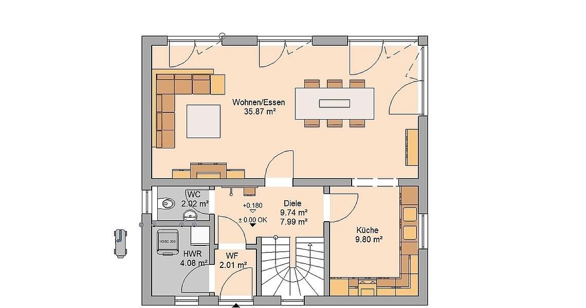 Kern-Haus Familienhaus Vision Plus Grundriss Erdgeschoss
