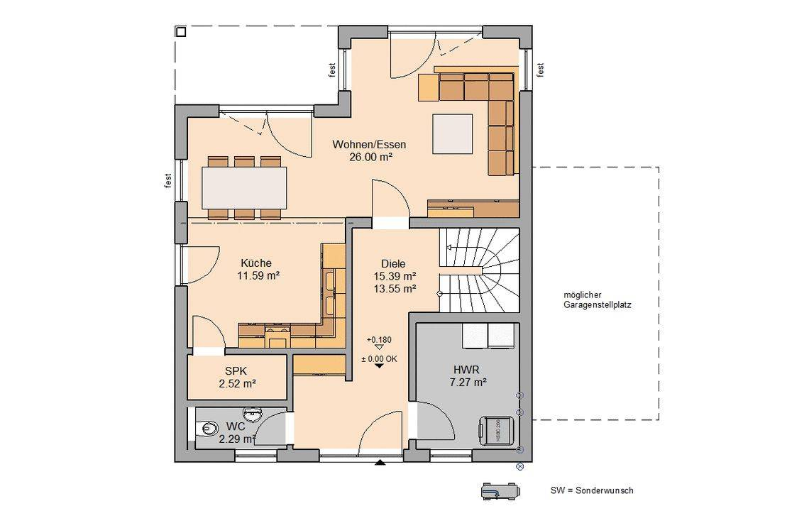 Massivhaus Kern-Haus Fino Stadtvilla Grundriss Erdgeschoss