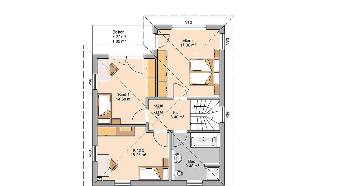 Massivhaus Kern-Haus Stadtvilla Fino Grundriss Obergeschoss