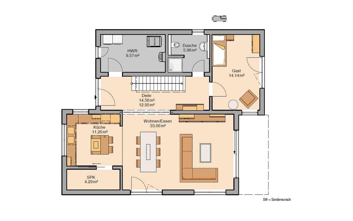 Massivhaus Kern-Haus Futura Bauhaus Grundriss Erdgeschoss
