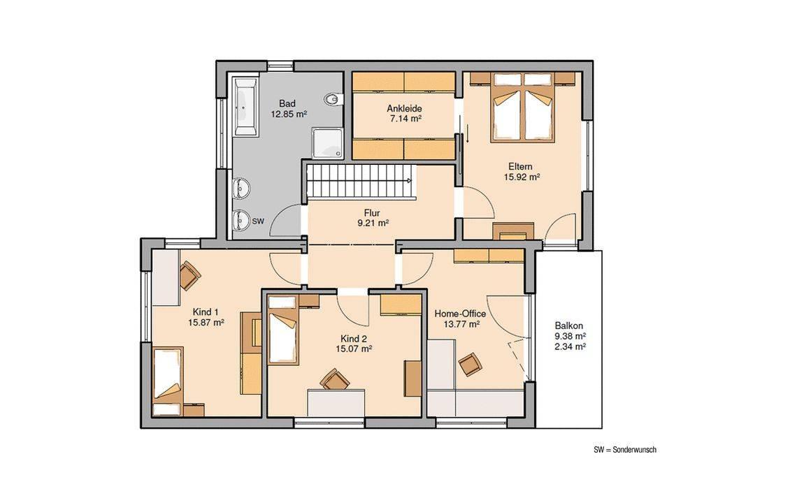 Massivhaus Kern-Haus Futura Bauhaus Grundriss Obergeschoss