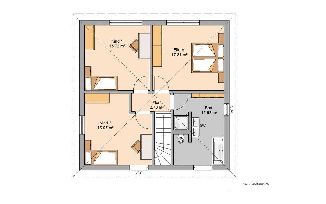 Massivhaus Kern-Haus Stadtvilla Baleo Grundriss Obergeschoss