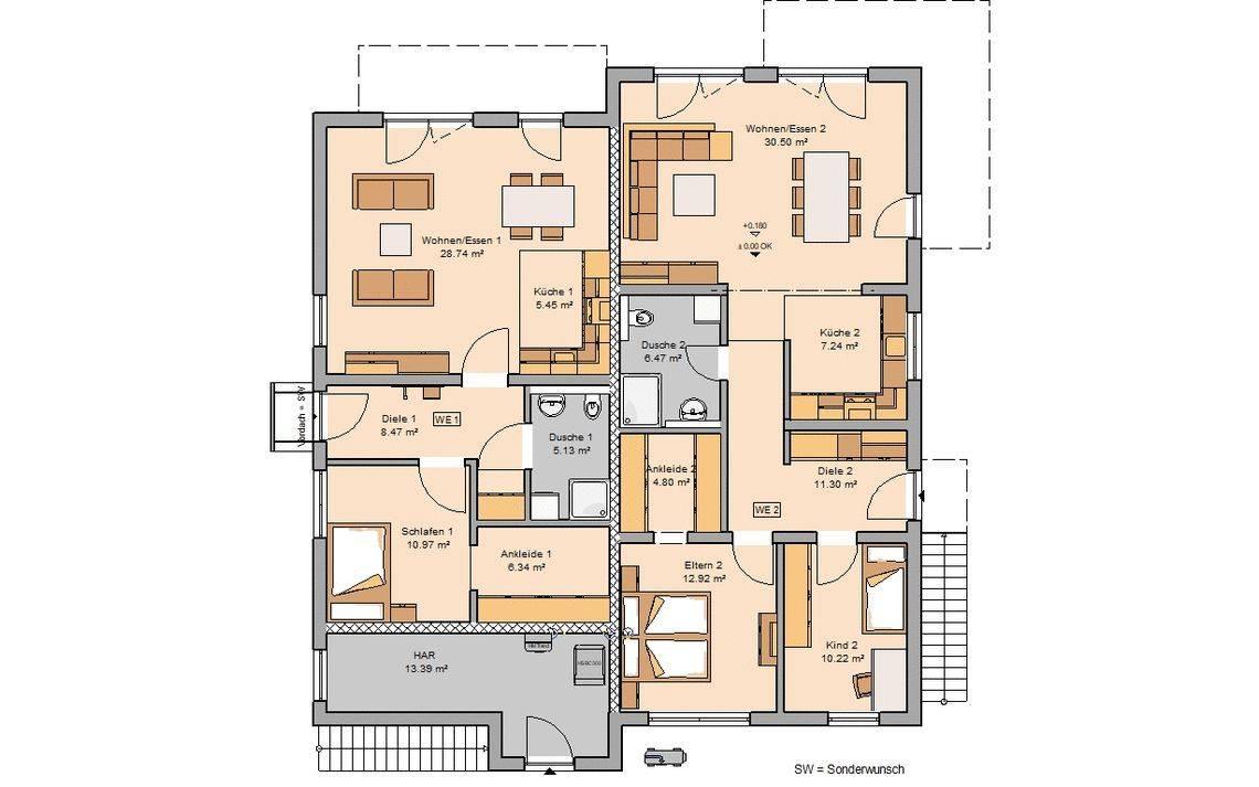 Kern-Haus Massivhaus Mehrfamilienhaus Quadra Grundriss Erdgeschoss