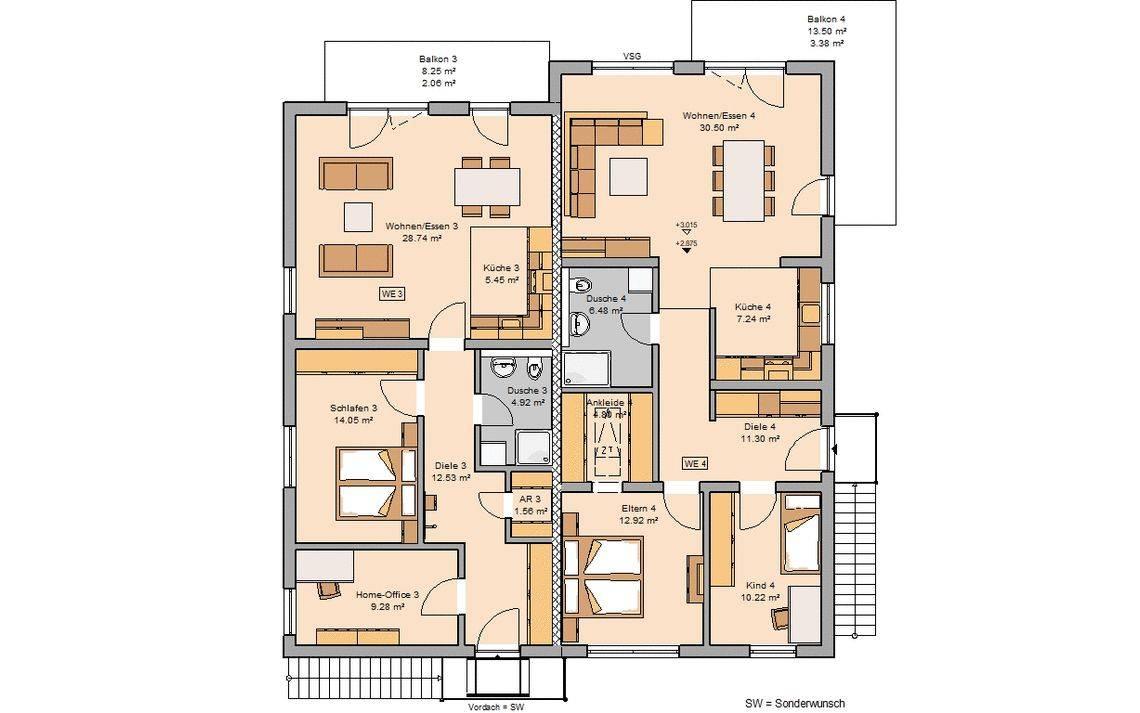 Grundriss Massivhaus Mehrfamilienhaus Quadra Kern-Haus