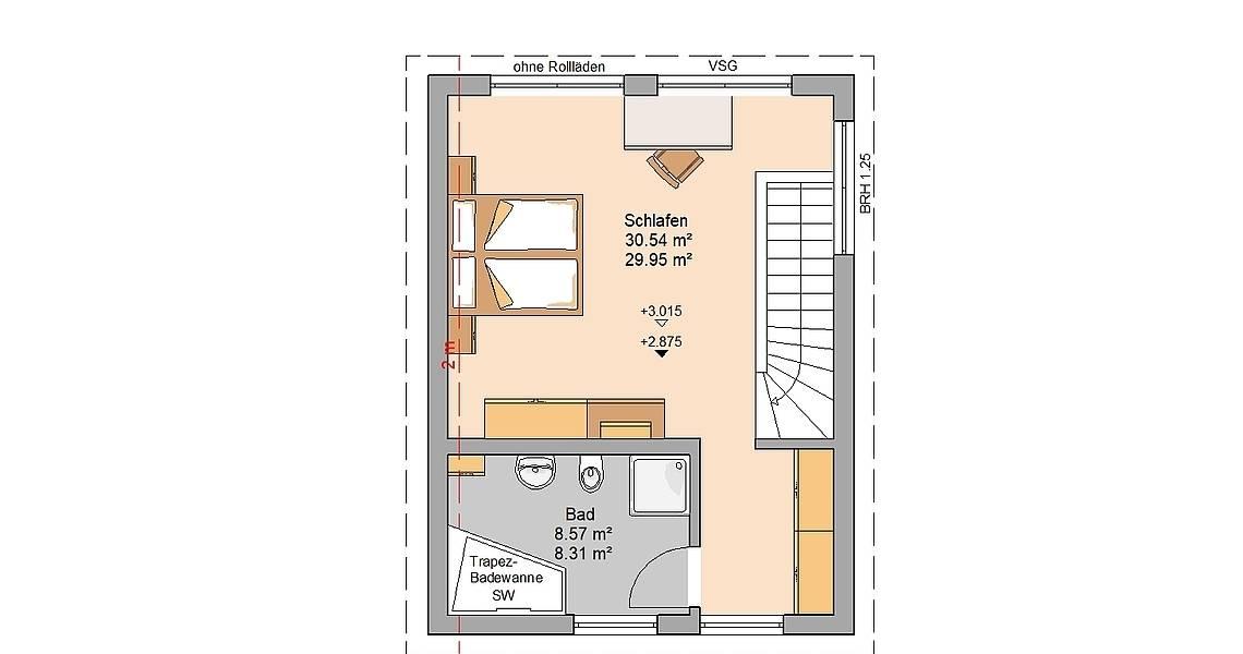 Kern-Haus Singlehaus One Grundriss Dachgeschoss