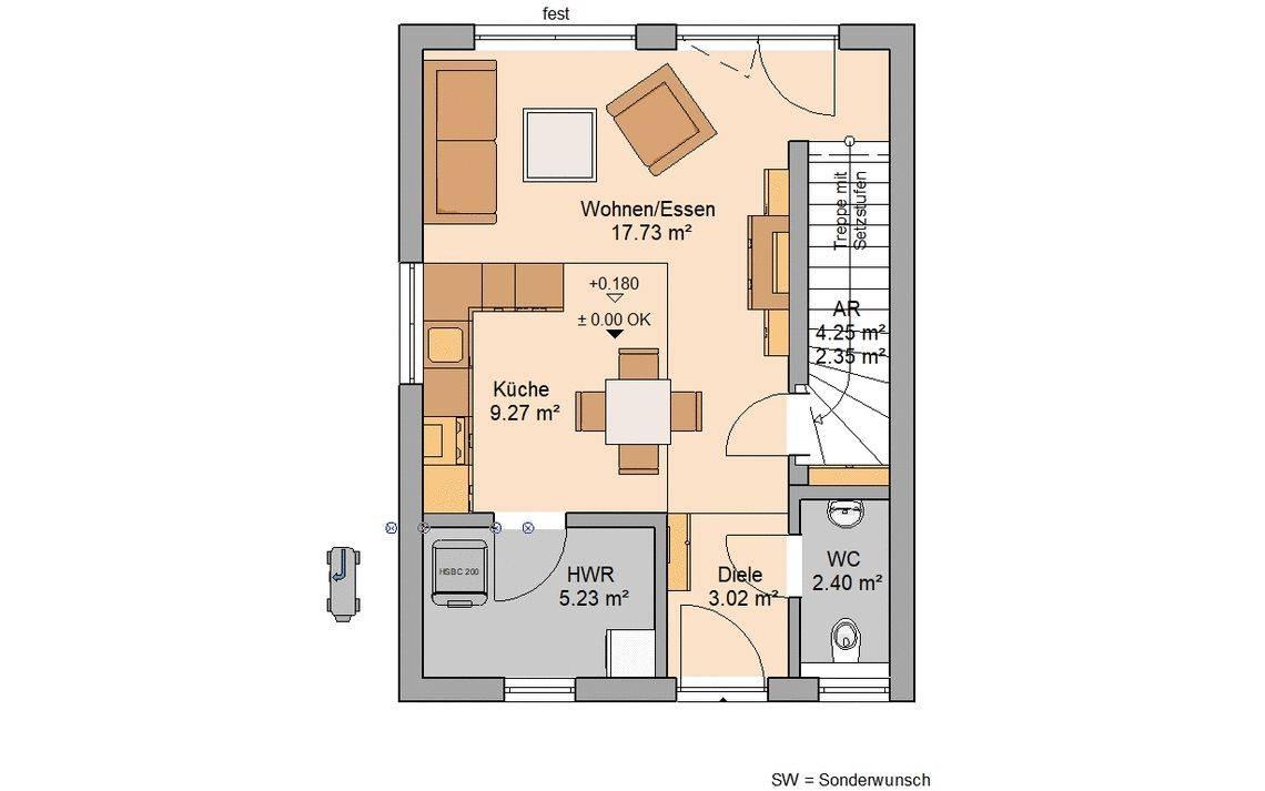 Kern-Haus Singlehaus One Grundriss Erdgeschoss