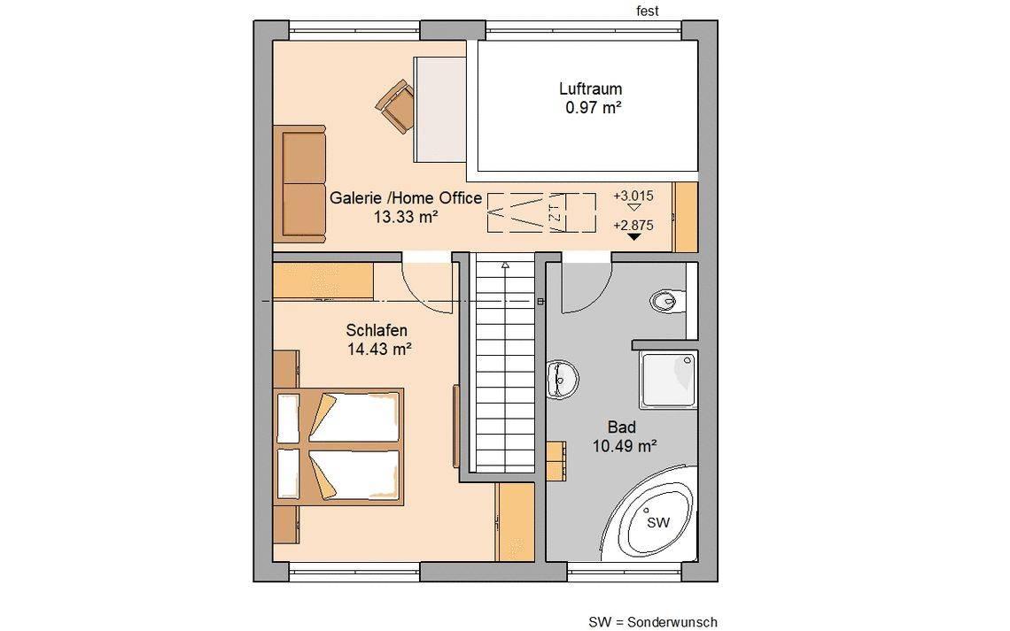Massivhaus Kern-Haus Singlehaus und Paarhaus Fun Grundriss Dachgeschoss