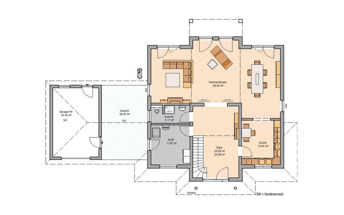 Kern-Haus Stadtvilla Aurelio Grundriss Erdgeschoss