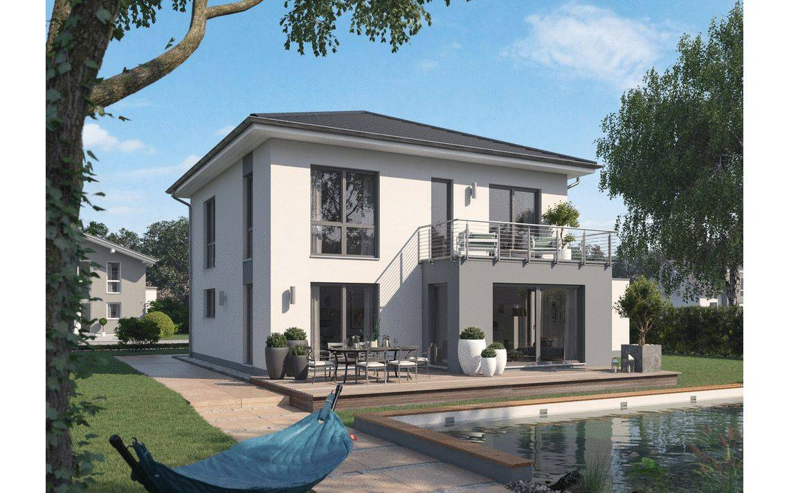 Massivhaus Kern-Haus Stadtvilla Certo Gartenseite
