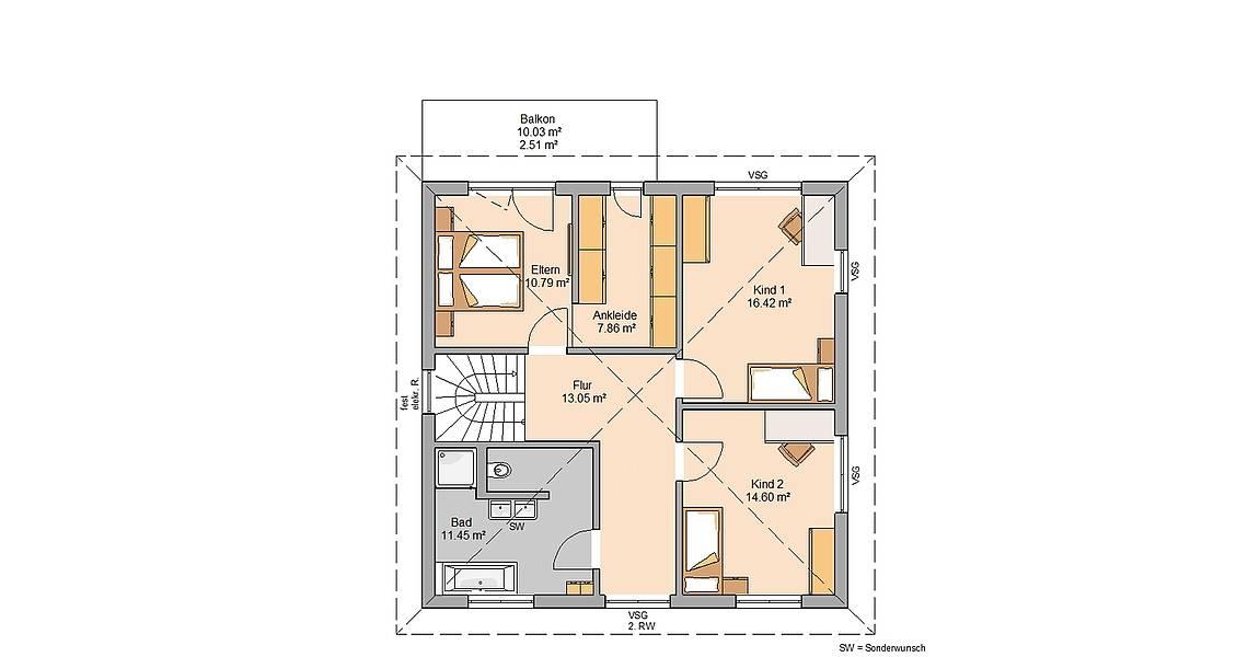 Massivhaus Kern-Haus Stadtvilla Certo Grundriss Obergeschoss