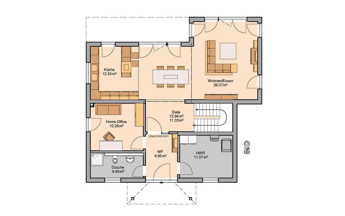 Massivhaus Kern-Haus Stadtvilla Gredo Grundriss Erdgeschoss