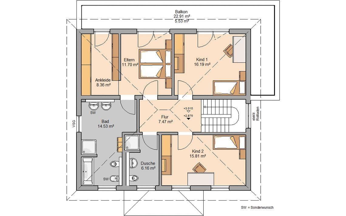 Massivhaus Kern-Haus Stadtvilla Gredo Grundriss Obergeschoss