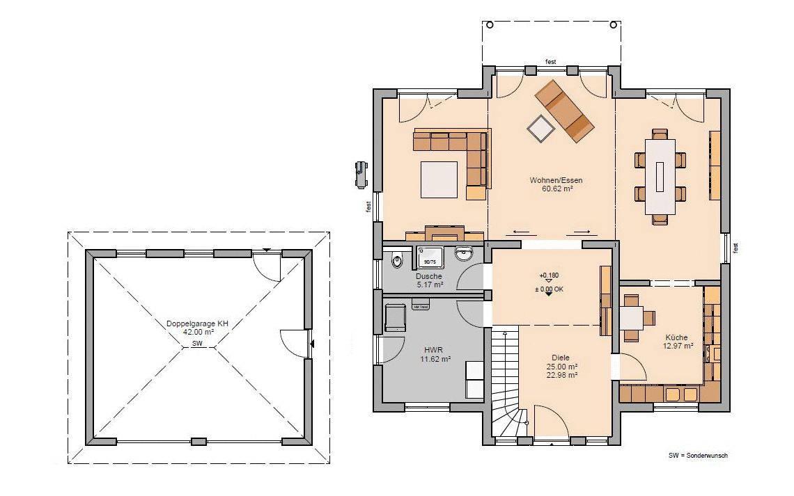 Kern-Haus Stadtvilla Karat Grundriss Erdgeschoss