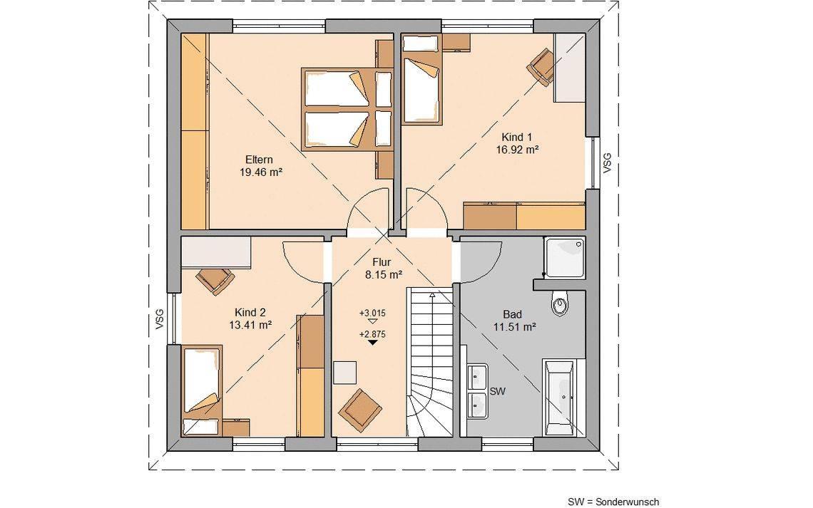 Massivhaus Kern-Haus Stadtvilla Mateo Grundriss Obergeschoss