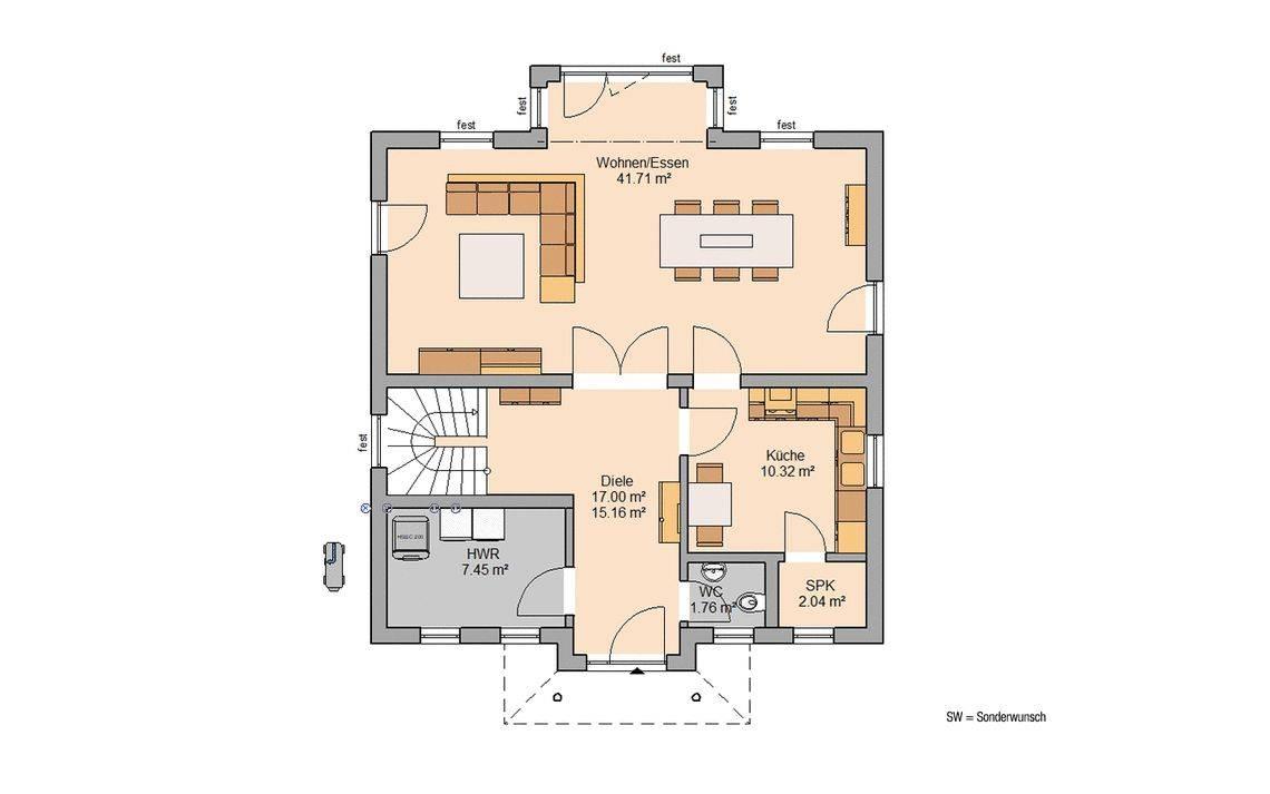 Grundriss Kern-Haus Stadtvilla Riva Erdgeschoss