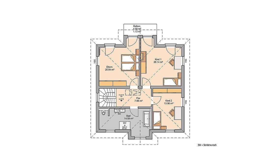 Kern-Haus Stadtvilla Saphir Grundriss Obergeschoss