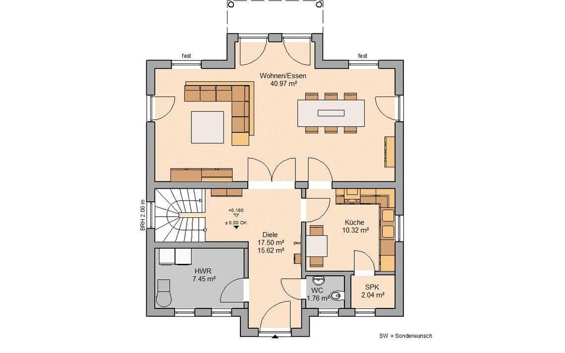 Massivhaus Kern-Haus Stadtvilla Saphir Grundriss Erdgeschoss Paulo