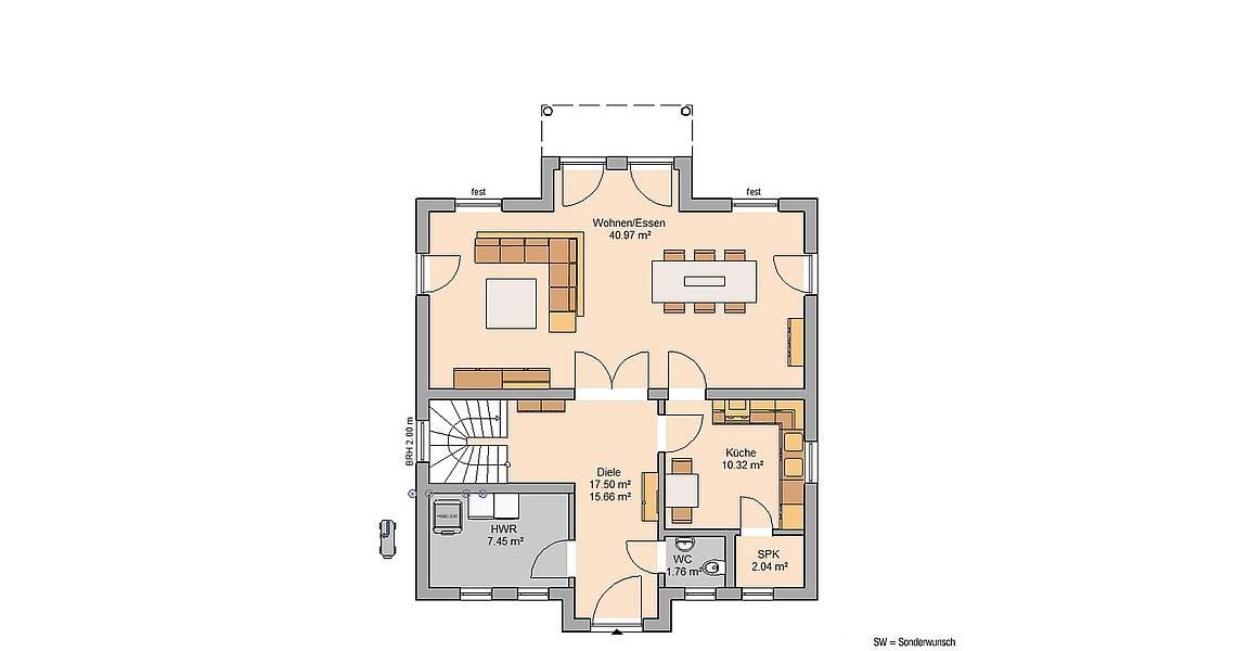 Kern-Haus Stadtvilla Saphir Grundriss Erdgeschoss