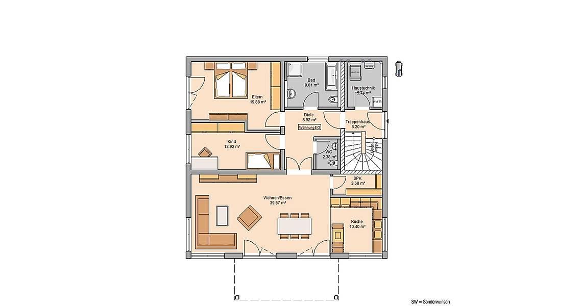 Massivhaus Kern-Haus Doppelhaus Duplea Grundriss Erdgeschoss