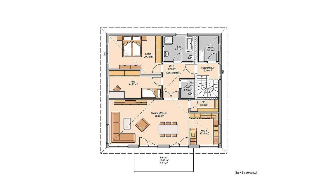Massivhaus Kern-Haus Zweifamilienhaus Duplea Grundriss Obergeschoss