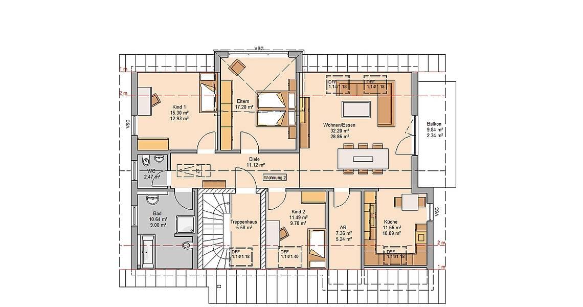 Massivhaus Kern-Haus Zweifamilienhaus Extend Dachgeschoss