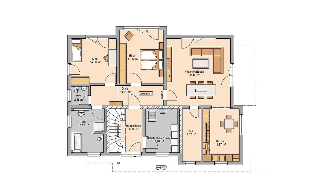 Massivhaus Kern-Haus Zweifamilienhaus Extend Erdgeschoss