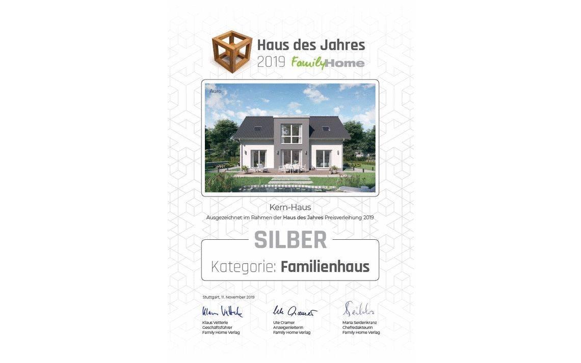 Urkunde Family Home Verlag: Haus des Jahres 2019